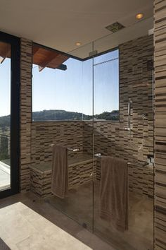 Frameless Shower Door With Towel Bar Design Ideas, Pictures, Remodel, and Decor