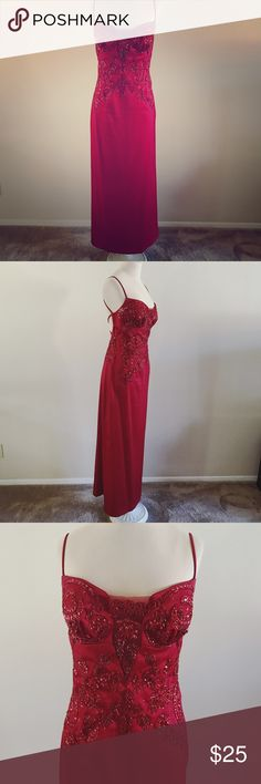 "Moulin Rouge Formal Evening Dress This gorgeous ruby red gown is perfect for prom, weddings, or a special evening occasion! Features a sweetheart neckline, low cut back, beautiful beadwork throughout the front with a mesh plunge. Has been hemmed at home (hem gives room for a potential 1.5"" extra in length. Has been dry cleaned, but shows wear in the beads near the underarm area. Not noticeable when worn, and still a beautiful dress! Measures 49"" from bust to hem on mannequin. Size 9/10. Will…"