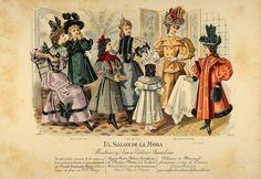 Vintage Hand Coloured Print - El Salon de la Moda