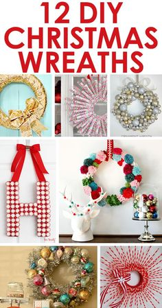 12 fun DIY Christmas wreaths from Two Twenty One! Lots of interesting ideas! Erin Jones this one's for you!