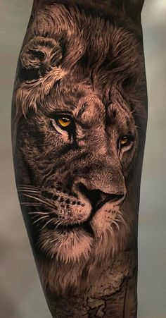 Tattoos Discover 50 Eye-Catching Lion Tattoos Thatll Make You Want To Get Inked Lion Leg Tattoo, Lion Tattoo Sleeves, Lion Head Tattoos, Mens Lion Tattoo, Lion Tattoo Design, Leg Tattoo Men, Tattoo Designs Men, Leg Tattoos, Sleeve Tattoos