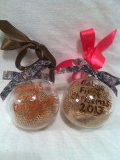 Hand painted Christmas ornament, Hunting ornament, camo ornament, Babys First Christmas 2013