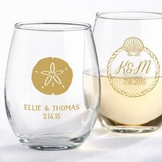 Personalized Beach Tides Stemless Wine Glass Favor (Kate Aspen 30009NA) | Buy at Wedding Favors Unlimited (http://www.weddingfavorsunlimited.com/personalized_beach_tides_stemless_wine_glass_favor.html).