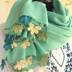 Turkish OYA Lace - Pashmina stole - Mint green by DaisyCappadocia on Etsy