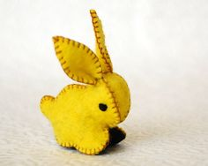 Small Bunny Rabbit Felted Toy --  Felt Bright Yellow and Black -- Handmade Animal toy. $18.00, via Etsy.