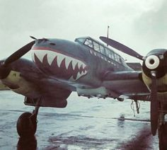 BF-110 with shark mouth paint at rest at an airfield (1941)