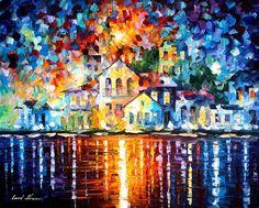 """Sleepy harbor"" by Leonid Afremov ___________________________ Click on the image…"