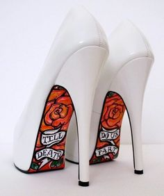 "high heel shoes with diamond studded setting | White high heel pumps with ""Till Death Do Us Part"" tattooed on the ..."