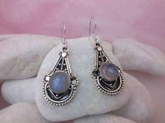 Sri Lanka Moonstone gemstones and Sterling silver earings.