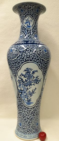 "Blue and White Portrait Chinese Porcelain Vase 51"". Go big or go home! $1,950."