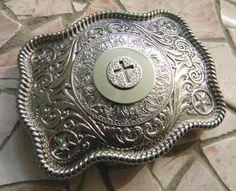 Silver Cross Belt Buckle Rhinestone Womens Mens by StepOriginals