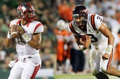 Rutgers' Scarlet Knights (left) face off against the Virginia Tech Hokies (right)