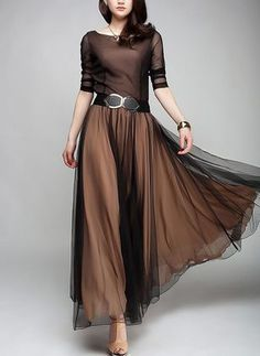 Shop Floryday for affordable color block long sleeve maxi a-line dress. Floryday offers latest color block long sleeve maxi a-line dress collections to fit every occasion. Long Sleeve Maxi, Maxi Dress With Sleeves, Dress Skirt, Skirt Outfits, Cool Outfits, Affordable Dresses, Trendy Dresses, Fashion Dresses, Women's Fashion
