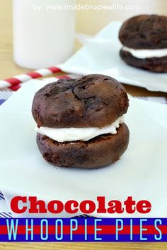 Chocolate Whoopie Pies | Inside BruCrew Life - chocolate cake mix cookies filled with a marshmallow butter cream #chocolate #cookies