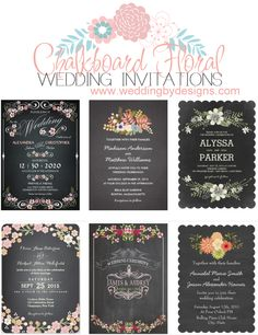 Floral chalkboard wedding invitations | weddingbydesigns.com #weddinginvitations #chalkboardinvitations #wedding