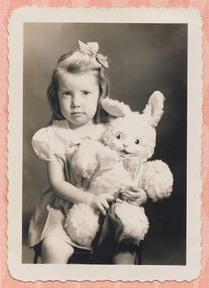 Girl and Bunny 1943 by Pinky-Lee, via Flickr