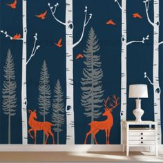 Customized birch tree decals for your living room, bedroom, or baby nursery! The birds and deers can go anywhere on the tree. Arrange them any way you like. This set includes four birch tree, four forest tree wall decals, five birds and two deers. ** The tree decal is made to be trimmed on either the top or bottom to fit your wall perfectly.
