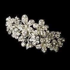 Swarovski Crystal Floral Wedding Bridal Barrette - Special Occasion, Prom, Party -- Want additional info? Click on the image.