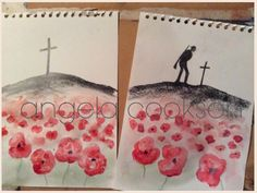 Example for series of year 5 or 6 art lessons. Silhouettes drawn using pencils and graphite sticks.  Watercolour wash with more detailed watercolour poppies in foreground. #WW1 #FlandersFields #Poppies #RemembranceDay