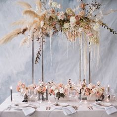 pretty neutrals, soft scattered blooms and an ethereal pampas grass backdrop - everything about this tablescape feels so right!regram from - Наталья Лукьянченко - Grass Centerpiece, Wedding Table Centerpieces, Wedding Tables, Winter Wedding Receptions, Winter Wedding Decorations, Winter Weddings, Floral Wedding, Wedding Bouquets, Wedding Flowers