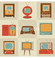 Retro vintage tv set vector on VectorStock®