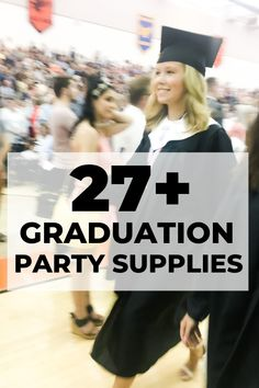 an extensive list of graduation party supplies Vintage Graduation Party, Outdoor Graduation Parties, Graduation Party Centerpieces, High School Graduation Gifts, Graduation Party Supplies, Grad Parties, Graduation Decorations, Graduation Ideas, Diy 2019