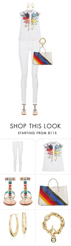 """""""Jeans And Sandals  For Spring"""" by ittie-kittie on Polyvore featuring Frame Denim, Christopher Kane, Fendi, Anya Hindmarch, Blue Nile, Michael Kors, white, rainbow, SpringStyle and springfashion"""