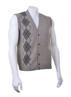 766b593b831 New Zealand Possum Merino Wool Knitwear Argyle Vest