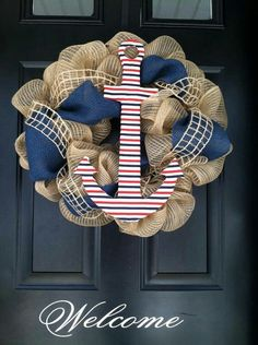 Burlap Red, White, and Blue Anchor Wreath