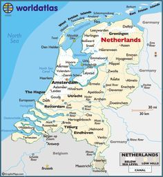 Map of Holland/The Netherlands Netherlands Map, Amsterdam Netherlands, Holland Map, Learn Dutch, Thinking Day, Delft, North Sea, Belgium, The Hague