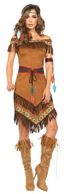 Dress with fringe includes belt, arm band, and headband. Fits adult women's sizes 10-14.