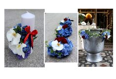 Baptism candle and cristening decorations