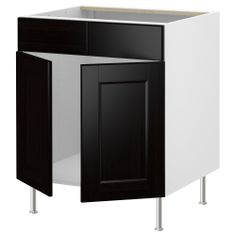 "AKURUM Base cb f sink w 2 drs/2 fascia pan - birch effect, Ramsjö black-brown, 36 "" - IKEA"