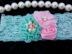 Aqua Headband/Baby Headband/Baby Headband and Bow/Infant Headbands/Baby Girl Headband/Girl Headband…
