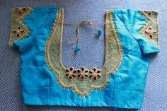 simple and beautiful#handwork#designer#blouse#embroidery#blue