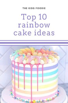 We have searched far and wide to find our top 10 rainbow themed cakes for a birthday, tea or party! 2nd Birthday Party Themes, Baby Birthday Cakes, Girl Birthday, Rainbow Theme, Rainbow Birthday, Rainbow Cheesecake, Striped Cake, Cake Online, Baking With Kids