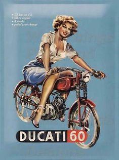 Vintage metal plate Pin up Ducati 60 Red Vintage Pins, Vintage Metal, Retro Vintage, Tin Metal, Retro Ads, Vintage Ideas, Vintage Style, Ducati Motorcycles, Vintage Motorcycles