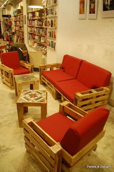 Pallet couches, end tables, and book shelves...