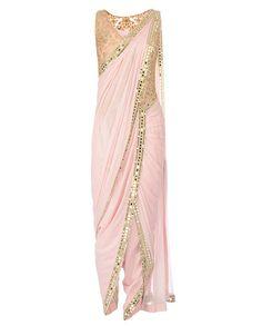 Mirror Work Embroidered Powder Pink Dhoti Saree