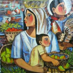 Paco Gorospe : Mother and child fruit vendors with Sabongero father