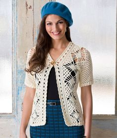 Spider Lace Jacket Free Crochet Pattern. This lovely spider lace pattern is fun to crochet and perfect for this versatile jacket. You'll keep this lacy beauty handy all seasons of the year! Skill Level: Intermediate Materials: RED HEART® Luster Sheen®: 4 (5, 5, 6, 6, 6) balls 7 Vanilla. Susan Bates® Crochet Hook: 3.25mm  Yarn needle GAUGE: Rows 2-11 in side panel pattern