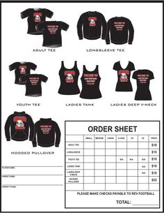 t shirt order form template - Google Search | tyler | Pinterest ...