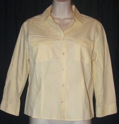 Ann Taylor Loft Yellow Solid 100% Cotton 3/4 Sleeve Career Shirt Top 6 in Clothing, Shoes & Accessories | eBay