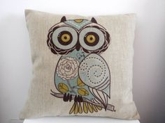 """Decorbox Cotton Linen Square Decorative Throw Pillow Case Cushion Cover Cartoon Green Cute Cartoon Owl 18 """"X18 """". Shopswell 