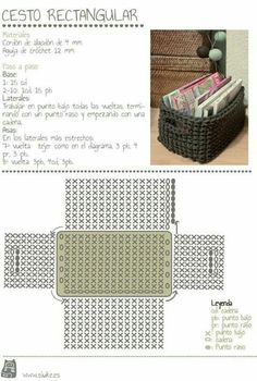 maybe a matching crocheted storage basket (from zpagetti type tshirt yarn) to match a grey crochet bath mat . Crochet Storage, Crochet Box, Crochet Diagram, Crochet Purses, Love Crochet, Diy Storage, Single Crochet, Crochet Clutch, Storage Boxes