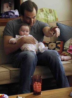 Stay-at-home dads are becoming more common TV show characters, such as Will Arnett in Up All Night.