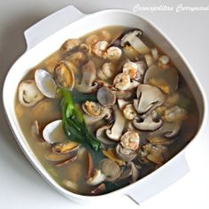 Japanese seafood soup | Get hold of some fresh seafood, mushrooms, pak choi and miso paste and make this quick and easy Japanese seafood soup! As easy as 1...2...3.