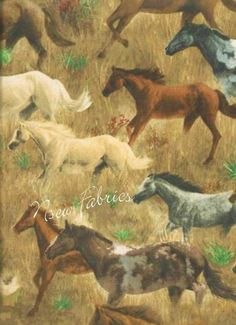 Western HORSE Fabric Stallions Mares Colts running by NsewFabrics