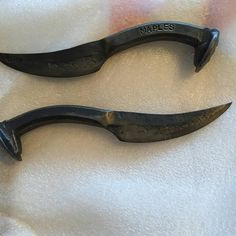 Railroad spike knives.