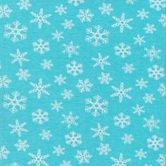 Snowflakes on Blue Cotton Lycra Knit - Peek-a-Boo Pattern Shop